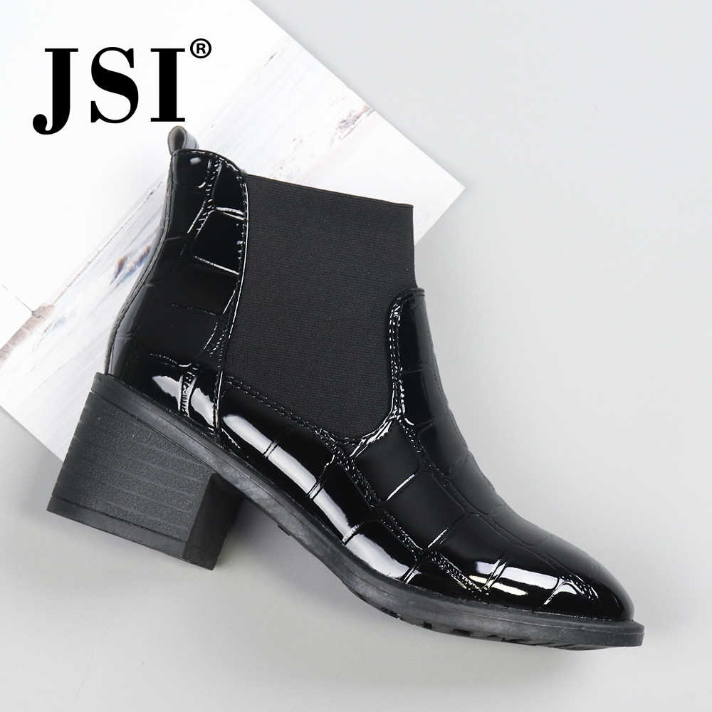 JSI Winter Ankle Women Boots Elastic Band Round Toe Square Heel Shoes Fretwork Chelsea High Heels Microfiber Boots Women  JD2