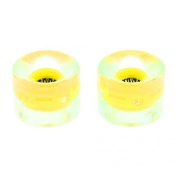 2pcs/Set Smooth LED Longboard Rollen Skateboard Wheels 59mm X 45mm Yellow For Skateboard Lovers