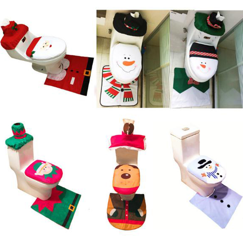 Toilet Foot Pad Seat Cover Cap Christmas New Year Decorations Santa Toilet Seat Cover And Rug Carpet Bathroom Accessory 1Set