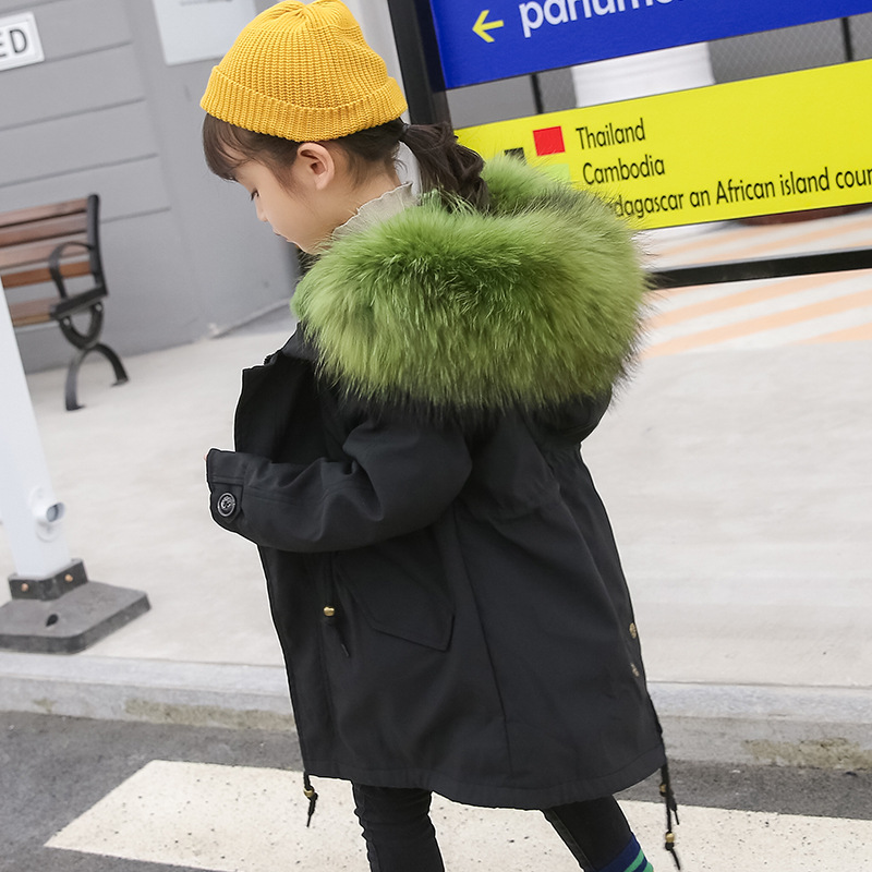 Image 5 - Winter Girls Fur Coat Children Natural Rabbit Fur Kids Jacket Warm Parkas Real Raccoon Fur Boys Girls Jacket size 110 170 TZ204-in Jackets & Coats from Mother & Kids