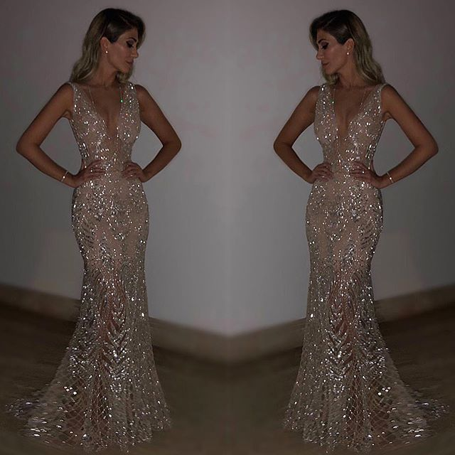 2019 Europe And America New Style Long Formal Dress Sexy Sleeveless Deep-V Sequin Formal Dress Long Skirts