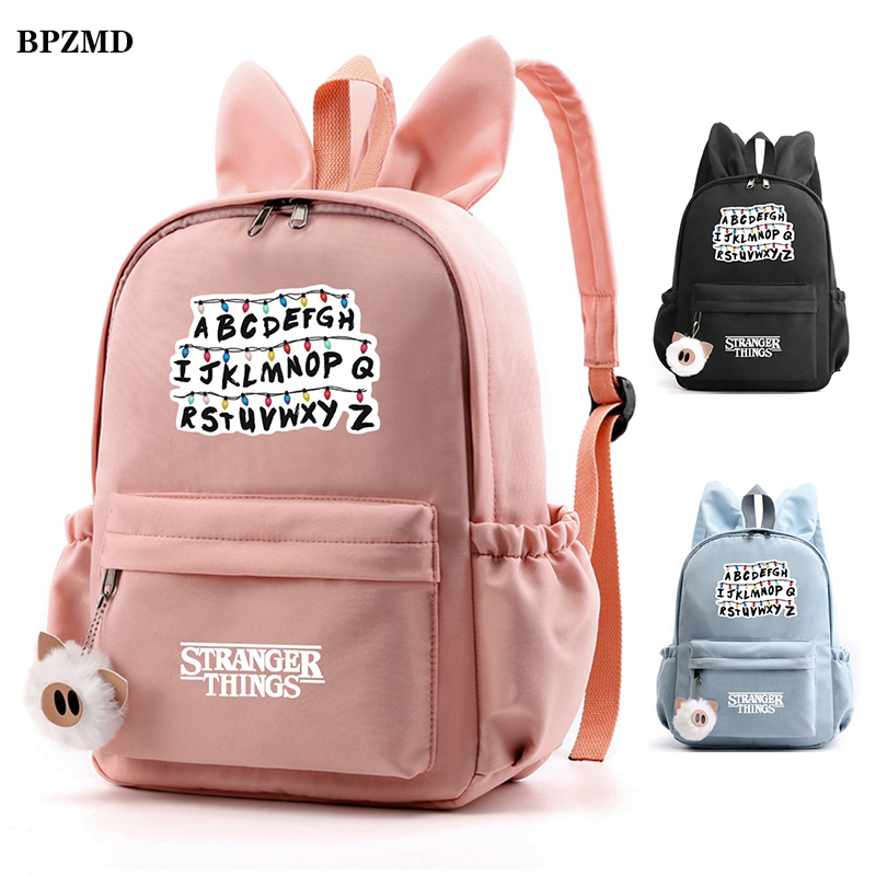 Rabbit Ears Stranger Things Backpack For Girls Child Waterproof Canvas School Student Backpack Street Travel Bags Women Backpack