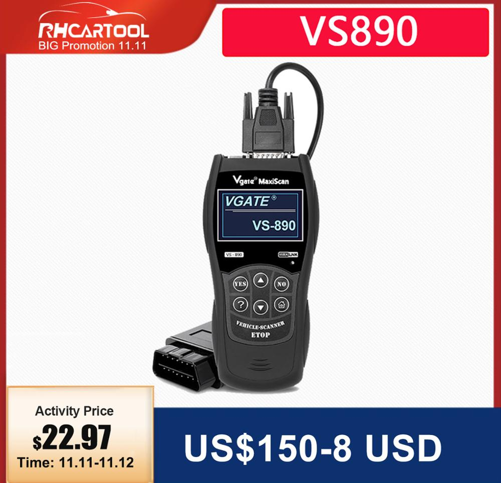 Diagnostic tool VS890 Auto Scanner Vgate VS890 OBD2 CAN-BUS Fault Car Code Reader VS 890 Multi-Languages Better ELM327 AD310