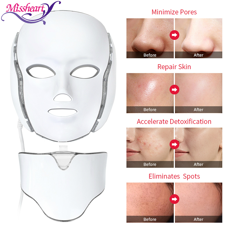 LED Facial Mask Beauty Skin Rejuvenation Photon Light 7 Colors Mask with Neck Therapy Wrinkle Anti Acne Tighten Skincare(China)