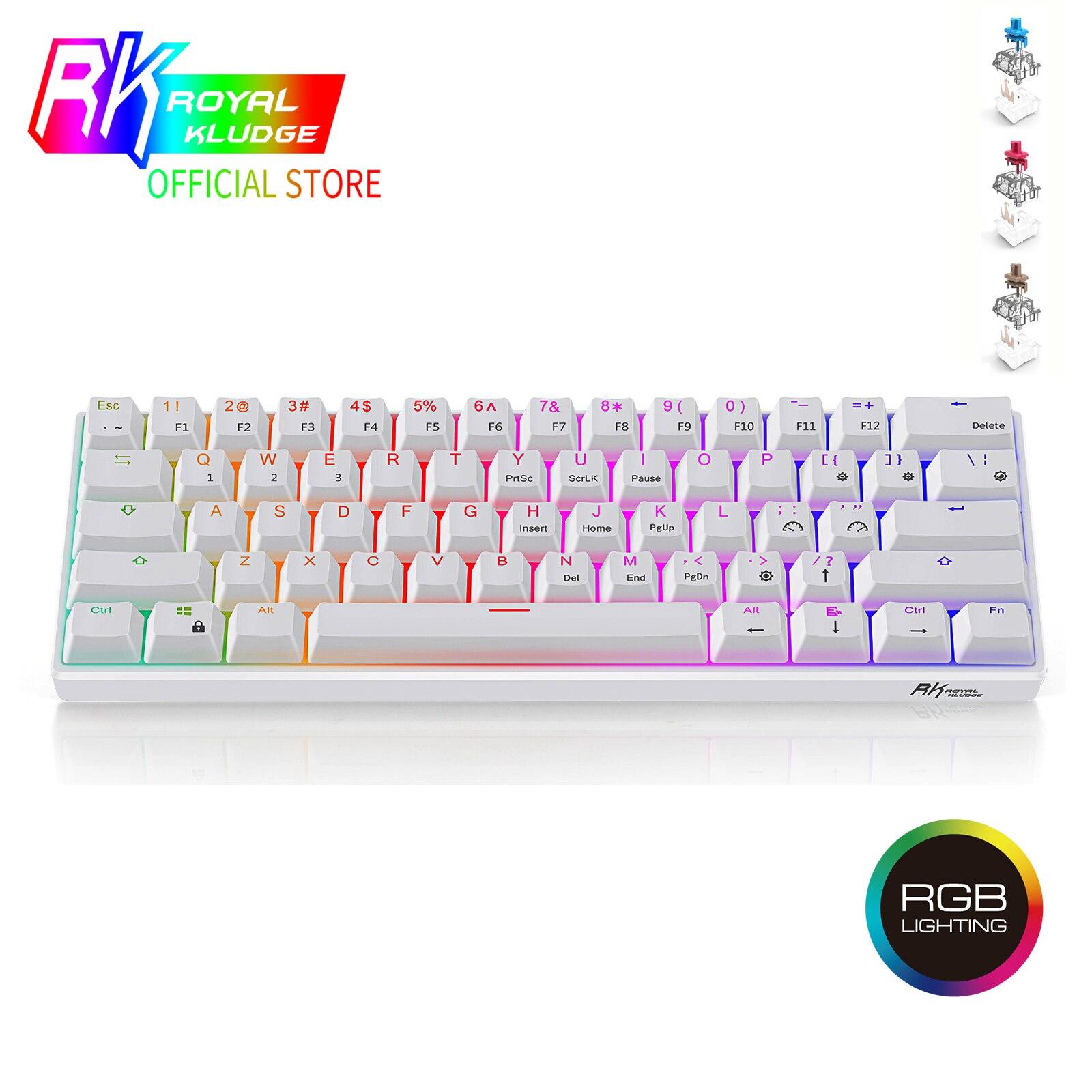 RK61 Mechanical Gaming Keyboard TKL 61 Keys Wireless Bluetooth 60% RGB Blue Brown Red Switch KeycapsPBT Pudding Keycap Keyboard|Keyboards| - AliExpress