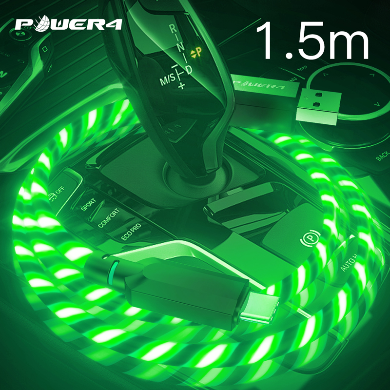 Power4 1.5m Led USB Cables For iPhone Micro USB Type C Mobile Phones Fast Charger Cable Luminous For iPhone 6 7 8 redmi samsung|Mobile Phone Cables|   - AliExpress