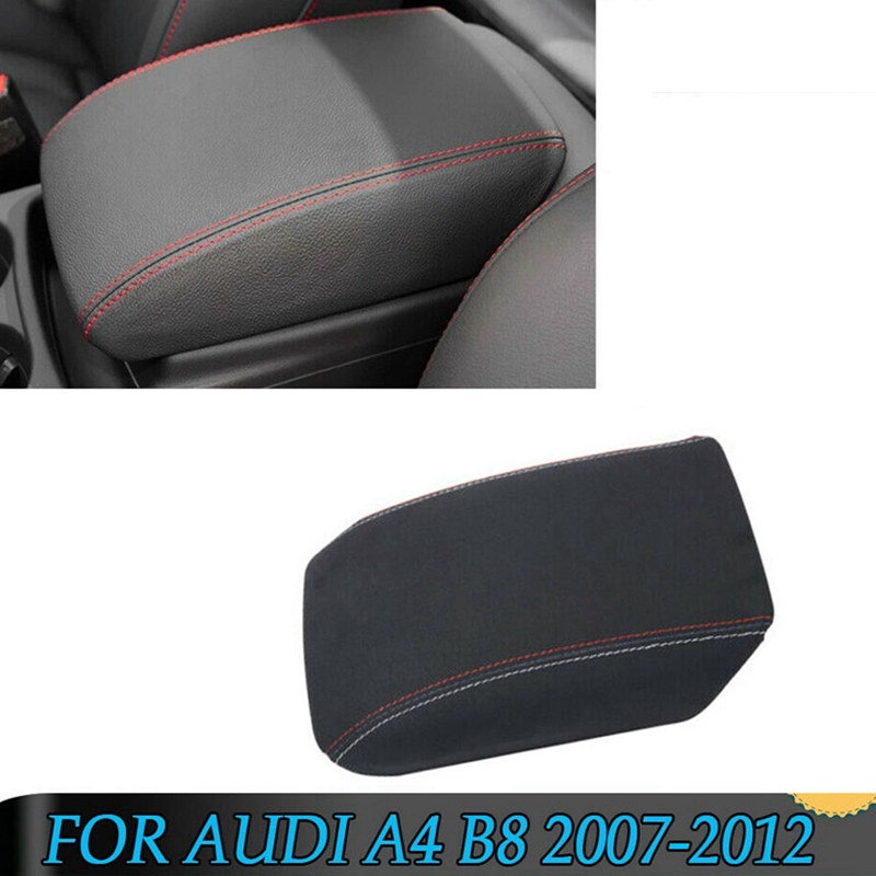 Black Suede Leather Armrest Box Center Console Lid Cover Storage Box For- A4 B8 2007-2012