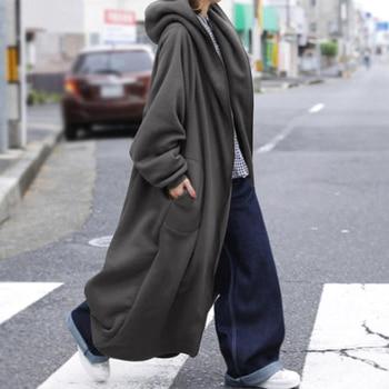 Winter Long Sleeve Sweatshirt Coat Plus Size ZANZEA Women Hooded Outwear Autumn Hoodies Fleece Long Jackets Loose Overcoats 7 1