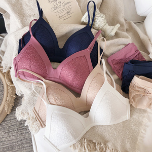 Image 1 - Sexy wireless thin cotton cup Bra Set lace fashion Bra and Panties Set Underwear without Stones Lingerie Women bralette Briefs