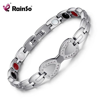 Magnetic Bracelet Therapy Jewelry Fashion Titanium Steel Ring  Health Bracelet Silver White Beads friends Girlfriend Gift OSB-23 1