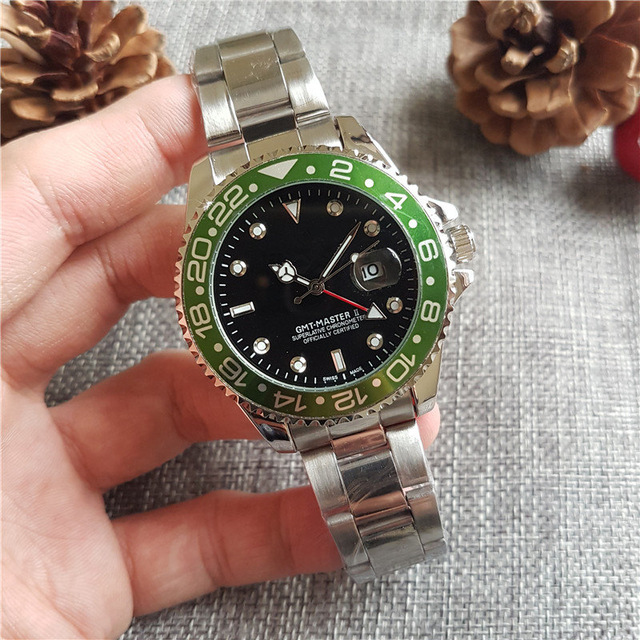 Luxury fashion business GMT quartz automatic winding watch stainless steel diving white black silver master 44mm men