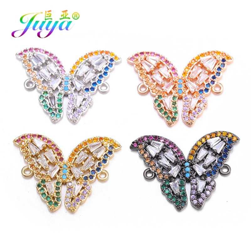 Juya DIY Armbanden Maken Accessoires Zirconia Hart Kroon Vlinder Charm Connectors Voor Vrouwen Mode Sieraden Maken