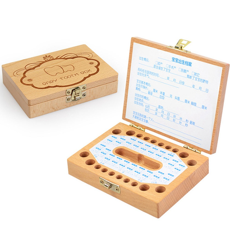 Baby Teeth Box Milk Teeth Wood Storage Collection For Baby Kids Teeth Box Creative Children Teething Boxes Birthday Gift