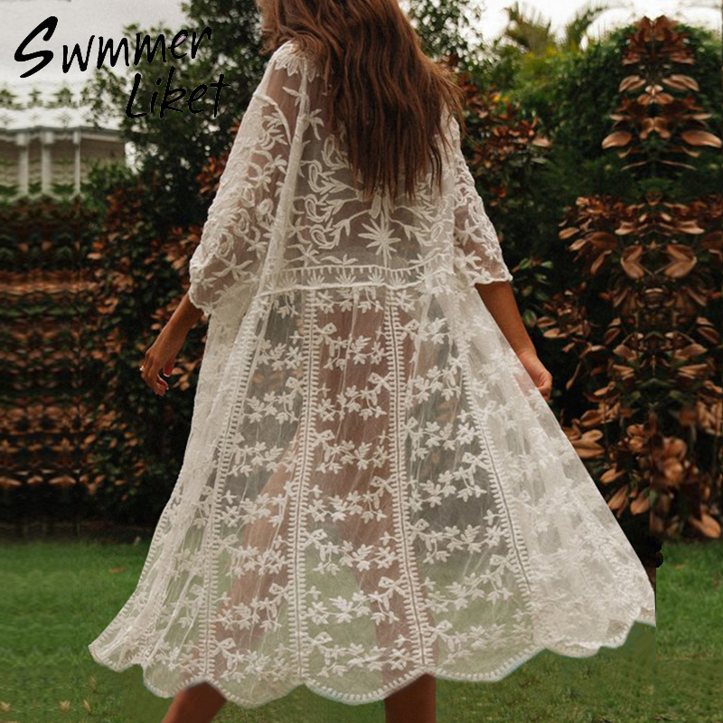 White Cover-ups 2020 Short Sleeve Beach Dress Women Mesh Long Kimono Hollow Out Summer Swimsuit Female Transport Beach Cover Up