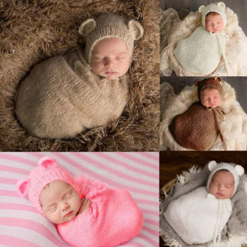 Fashion Newborn Photography Props Baby Wrap Blanket Infant Costume Outfit Kids Girl Boy Hat Knit Mohair Photo Shoot