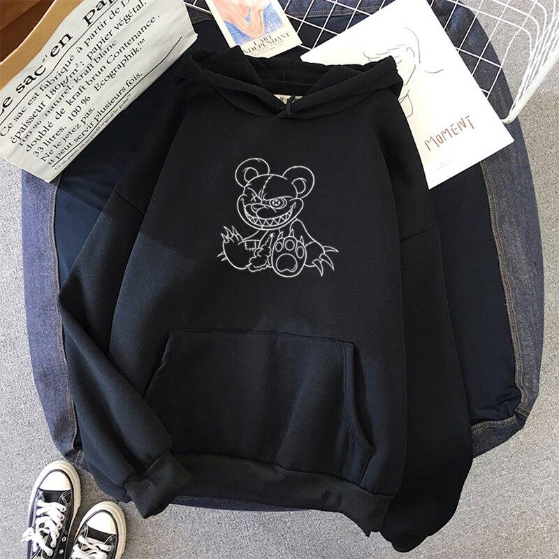 Harajuku punk horror impressão dos desenhos animados hoodie feminino solto bonito manga longa pulôver topos harajuku moletom preto roupas do vintage|Agasalhos e Moletons|   -