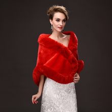 Winter Ladies Warm Faux Fur Cape Formal Party Outwear Short Scarf Tippet Women Black Red Casual Coat Bridal Wedding Wraps Poncho(China)