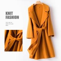 Elegant Winter Coat Women 100% Wool Coat Female Autumn Clothes 2019 Korean Long Woolen Jacket Cashmere Coats Hiver 19819