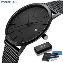 Часы наручные crrju Мужские кварцевые ультратонкие модные повседневные