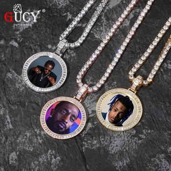 GUCY Custom Made Photo With Sngel Wings Necklace & Pendant 4mm Tennis Chain Gold Silver Color Cubic Zircon Men's Hip hop Jewelry gold pendant with topaz and cubic zirkonia