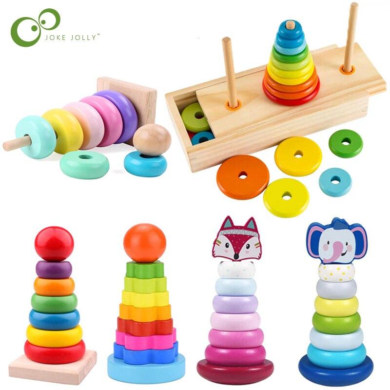 Tour d'anneaux arc-en-ciel pour animaux à empiler, blocs de Stapelring, jouets Montessori pour enfants, enseignement précoce, en bois, jouets pour bébés, cadeau ZXH