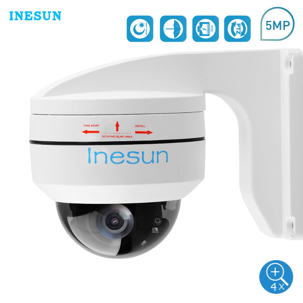 Inesun Outdoor 5MP PoE PTZ Security IP Camera 2560x1920P Super HD 4X Optical Zoom PTZ Dome Camera Vandal-Proof With Wall Bracket