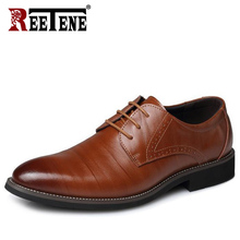 REETENE Leather Italy Pointed Toe Mens Dress Shoes Lace Up Wedding Party Shoes Men Classic Leather MenS Suits Shoes Men Oxfords