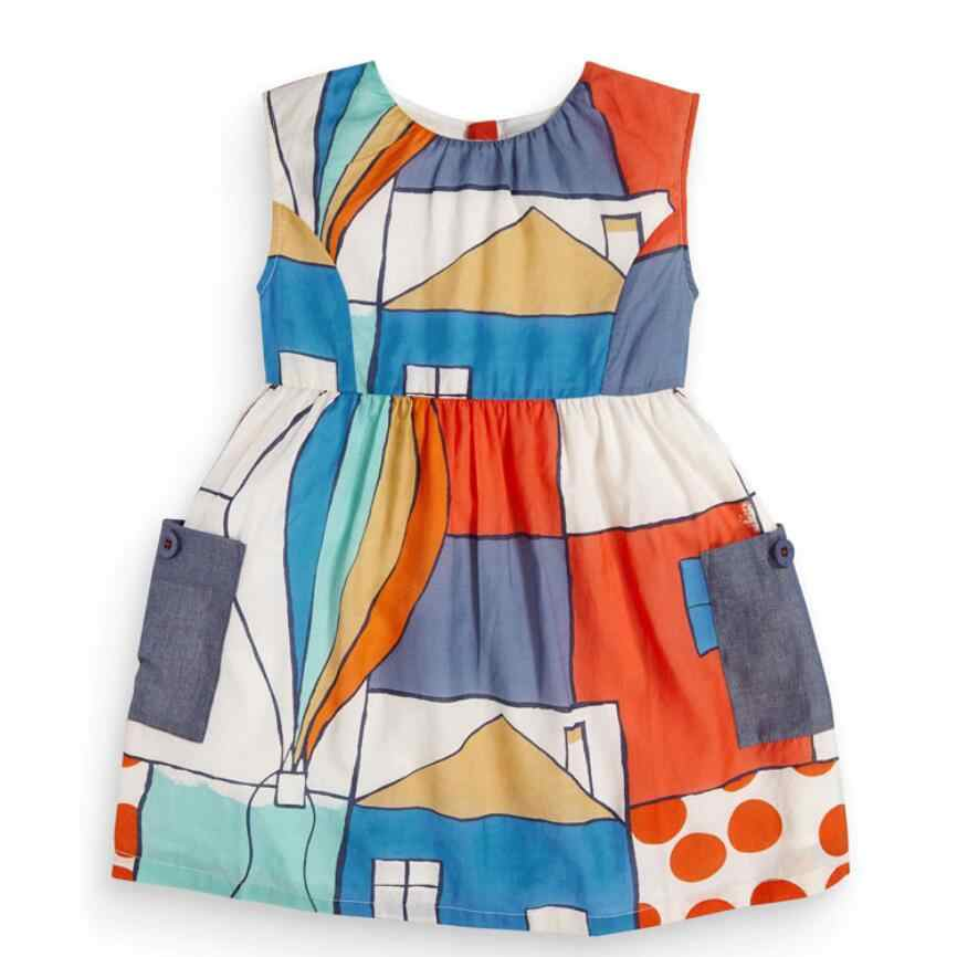 Little maven 2020 new summer baby girls clothes brand dress kids cotton colorful house print short sleeve dresses S0738