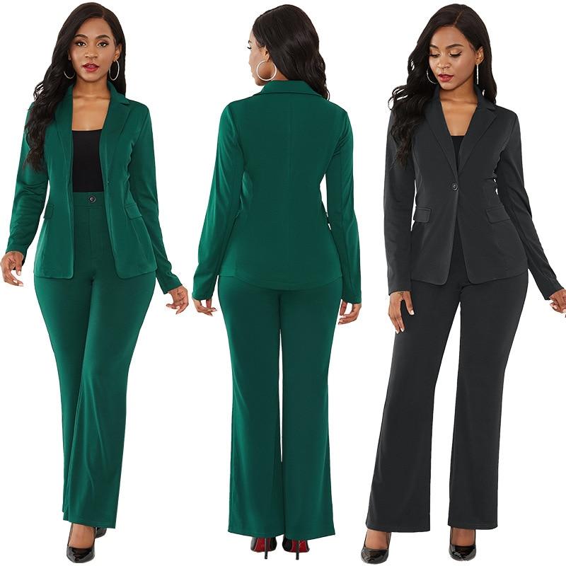 Women's Suit Office Two Piece Set Long Sleeve Suit Pants 2 Piece Set Female Winter Two Pieces Sets Office Female