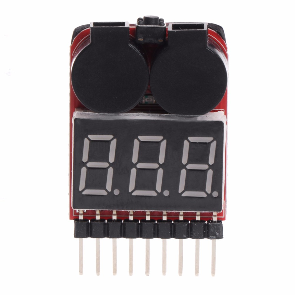 2-6S 1-8S Indicator Lipo Battery Voltage 2IN1 Tester Buzzer Monitor RC Model