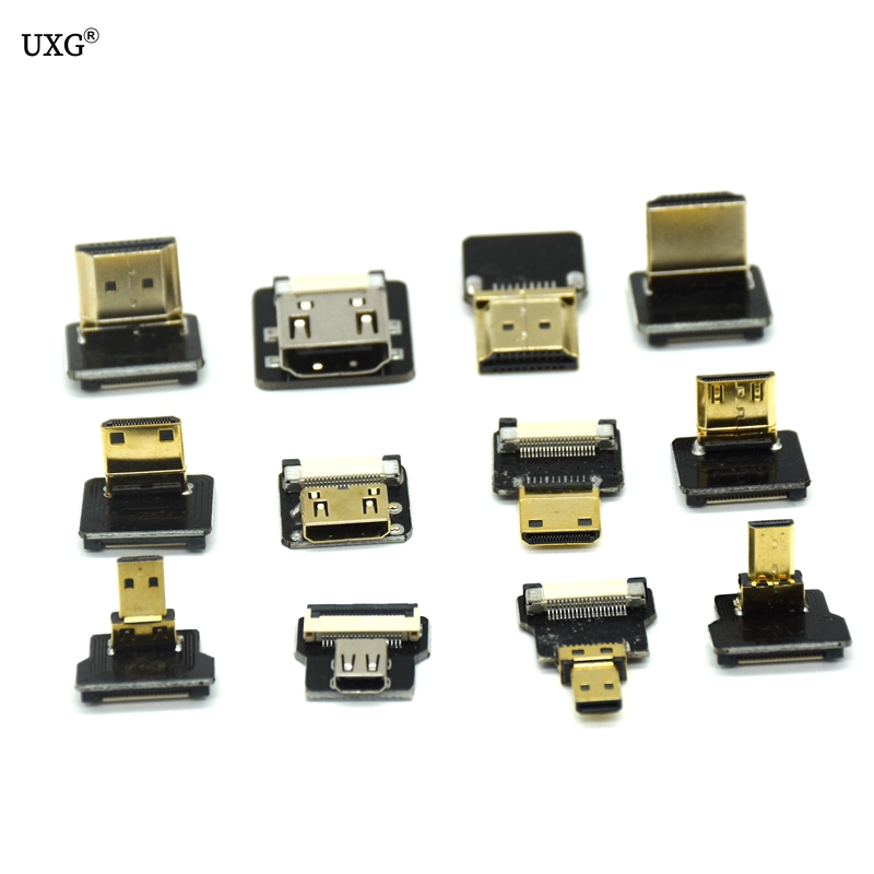 FPV Micro HDMI Mini HDMI 90 Degree Adapter 5cm-100cm FPC Ribbon Flat HDMI Cable Pitch 20pin Plug Connector