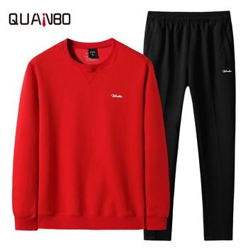 8XL Men's sportswear suit 2019 spring and autumn casual wear Long sleeve sweatshirt + pants two-piece High-grade round neck set