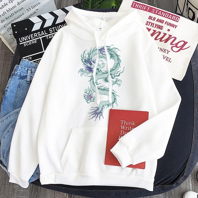 Cool Dragon Plus Size Print Sweatshirts Women Oversized Tops Hoodies Female Pullovers Casual Hoody Harajuku Korean Style Clothes 4