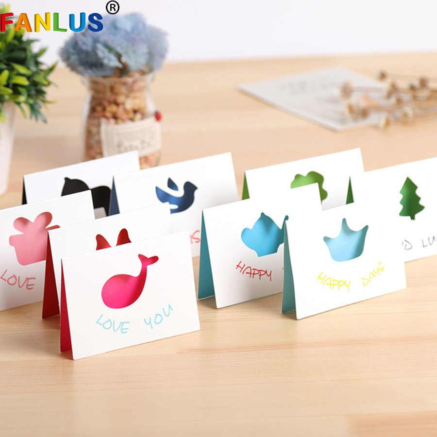 10 Buah/Banyak Kotak Hadiah Kertas Karton Putih Hewan Lucu untuk Baby Shower Kartu Ulang Tahun Pesta Dekorasi Laser Memotong Pernikahan Undangan