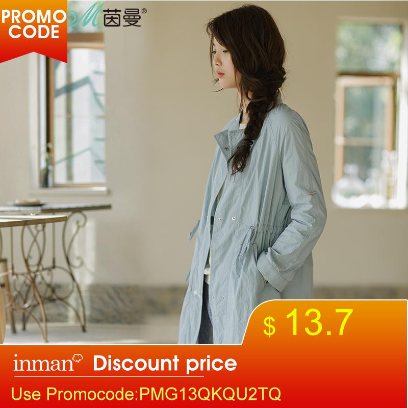 INMAN Women's New Florals Thin Coat Medium-long Ladies Trench