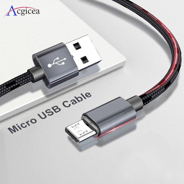 2.4A 마이크로 USB 케이블 빠른 데이터 싱크 충전기 케이블 삼성 Xiaomi 화웨이 안드로이드 Microusb 나일론 꼰 휴대 전화 케이블
