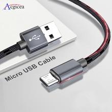 2.4A מיקרו USB כבל מהיר נתונים סנכרון מטען כבל עבור סמסונג Xiaomi Huawei אנדרואיד Microusb ניילון קלוע כבלי טלפון נייד