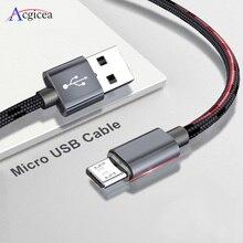 2.4A mikro USB kablosu hızlı veri Sync şarj kablosu Samsung Xiaomi Huawei Android mikro USB naylon örgülü cep telefonu kabloları