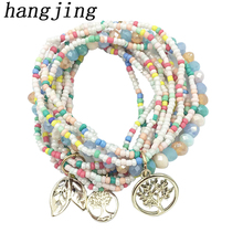 HANJING woman designer good quality fashion trendy unique bohe 2019 New Arrival Charm leaves tree of life bead bracelet bomian