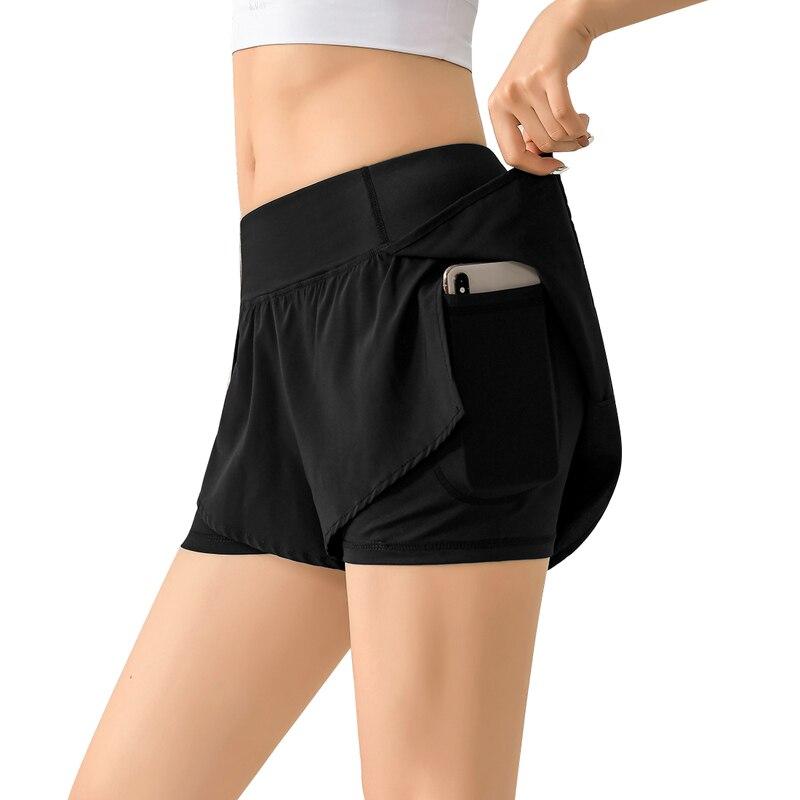 Women 2 In 1 Running Shorts Elastic Waist Running Tight Yoga Short Woman Sports Short Pink