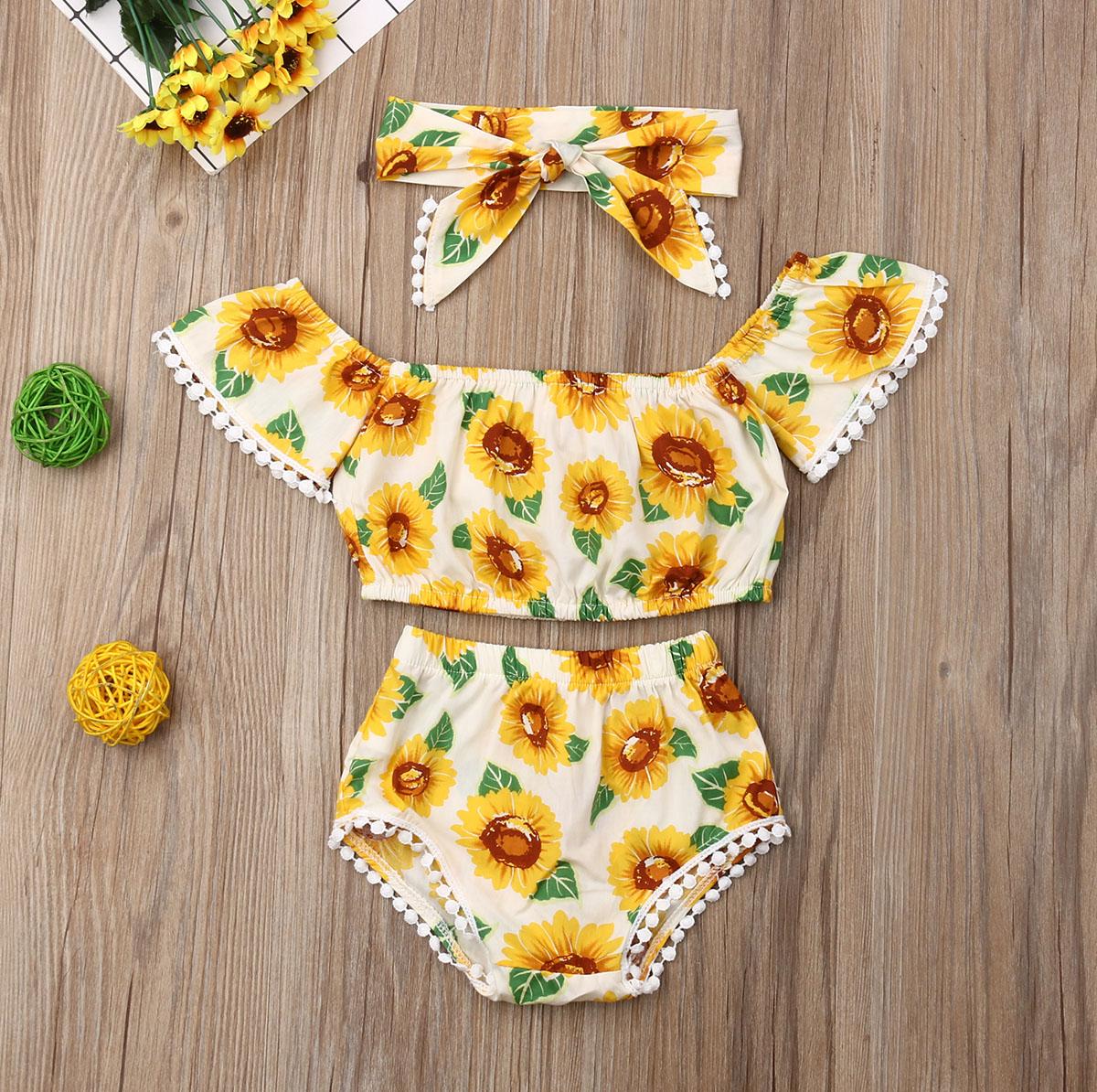 Pudcoco Newborn Baby Girl Clothes Summer Sunflower Print Short Sleeve Tassel Crop Tops Short Pants Headband 3Pcs Outfits Sunsuit