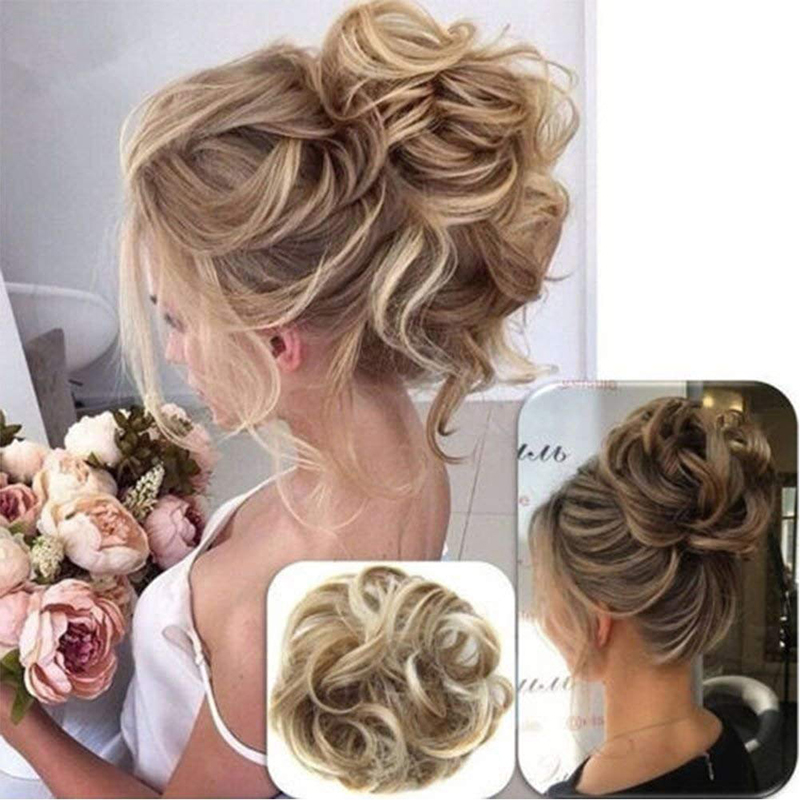 Messy Hair Bun Scrunchy Hairpiece Extensions Synthetic Wig Ring Wrap Chignon For Women Golden High Temperature Fiber