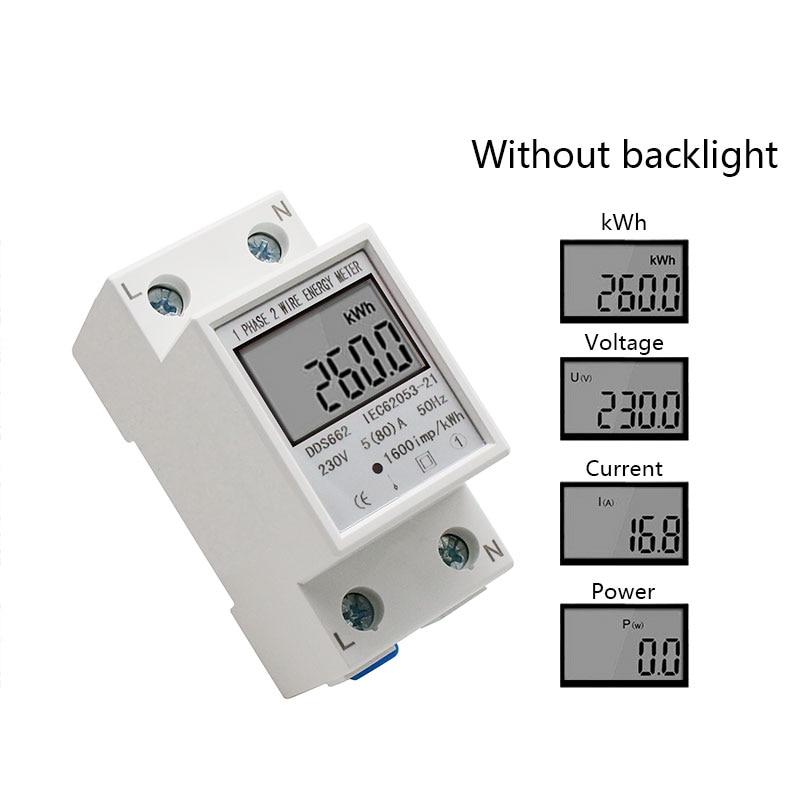 Однофазный двухпроводной ЖК-цифровой дисплей ваттметр энергопотребление электрический счетчик кВтч AC 230 В 50 Гц Электрический din-рейка - Цвет: Without backlight