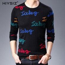 HIYSIZ New Sweaters 2019 Fashion Trend letter Pattern Brand Casual O-Neck Long Sleeve Steetwear Autumn Winter Men Pullover SW019