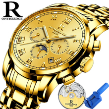 Ontheedge Mens Watches Automatic Watch Men Gold Stainless Steel Waterproof Business Male Clock Luninous Mechanical Wristwatch new luxury fashion mens automatic mechanical watches carnival men moon phase clock male stainless steel gold watch montres homme