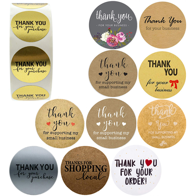 500PCS Thank You For Supporting My Small Business Kraft Stickers With Gold Foil Round Cute Stickers Scrapbook Stationery Sticker
