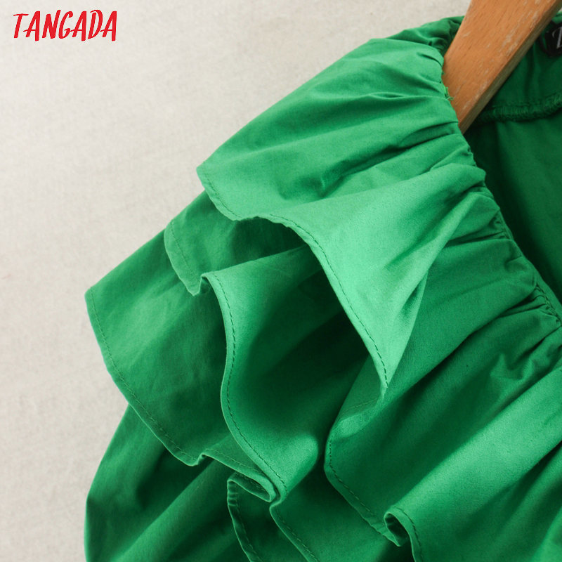 Tangada модное женское зеленое Летнее мини-платье с оборками, коротким рукавом и v-образным вырезом, женское свободное мини-платье vestidos 2W133