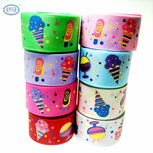 HL 1(25mm) 5 Meters/lot Printed Ice-cream Grosgrain Ribbons Wedding Party Decorative Gift Wrapping DIY Chilren Hair Accessories 6yards lot mix printed trim geometric ribbons diy wrapping wedding party hair bow decoration art sewing accessories 040054006