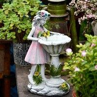 Figuras de Ángel de resina para decoración, adornos de escultura para el hogar, jardín al aire libre, Hada de Las Flores, niña, decoración Solar, Villa, patio, manualidades para micropaisajes