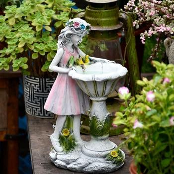 Resin Angel Figure Sculpture Ornaments Home Outdoor Garden Flower Fairy Girl Solar Decor Villa Courtyard Micro Landscape Crafts